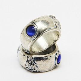 Sacred Heart Ring of Jesus and Our Lady Seven Sorrows - Blue