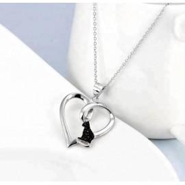 Collier Chat noir cœur- argent 925