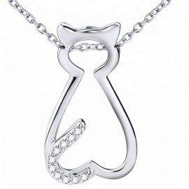 Collar Gato colgante - plata 925