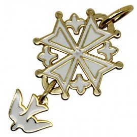 White Huguenot cross with gold plating