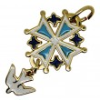 Huguenot cross in gold plated colours