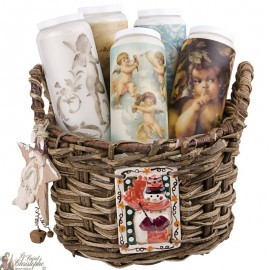 Christmas Basket with Novena Candles Angels