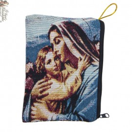 Woven rosary case - Holy family and Virgin and child