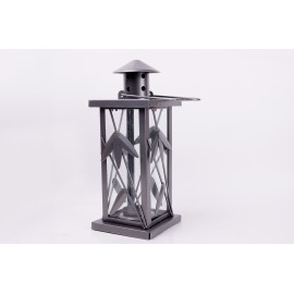 Lantern grey metallic - 27 cm