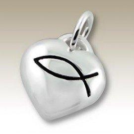 Pendant heart fish Christian sign - Silver 925