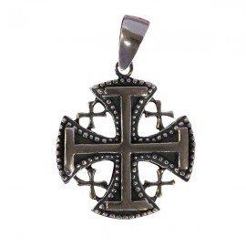 Ciondolo Croce di Gerusalemme - Argento 925 genuino