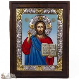 Icone Christ livre ouvert 25 x 32 cm - argent 999