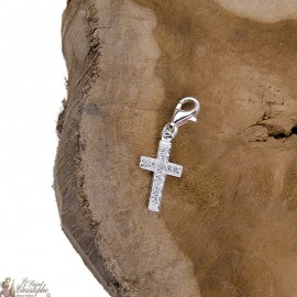 Crystal cross pendant charm - genuine 925 silver