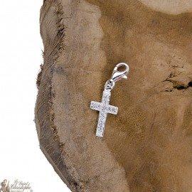 Crystal cross pendant charm - genuine 925 silver