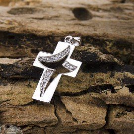 Mother-of-pearl cross pendant - 925 silver genuine