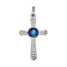 Pendant cross Virgin Mary enamelled blue - genuine Silver 925