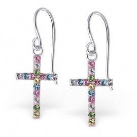 Cross earrings inlaid with crystals - Silver 925