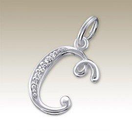 Pendant letter B crystal silver 925