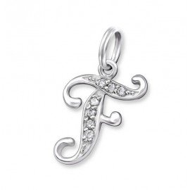 Pendant letter F crystal silver 925