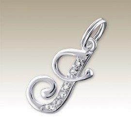 Pendant letter J crystal silver 925