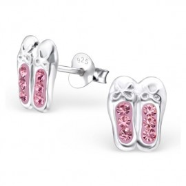 Earrings Ballerinas pink crystal - Silver 925