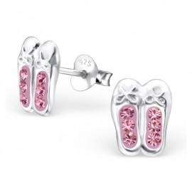 Earrings Ballerinas pink crystal - Silver 925