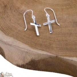 Cross earrings hanging - Silver 925