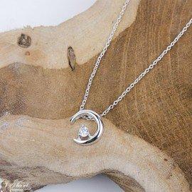 Zirconia Moon Crossing Necklace - Silver 925