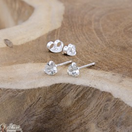 White crystal heart earrings - 925 silver