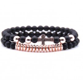 Cross bracelet with black pearl crystals - 2 pieces