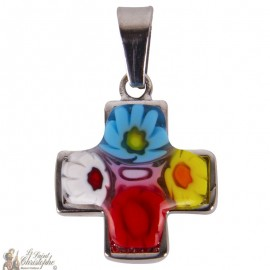 Pendant Murano cross glass - stainless steel