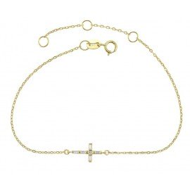 Synthetic crystal cross strap - 925 silver, 14K gold plated