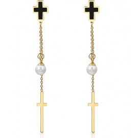 Cross and pearl hanging earrings - gold plated