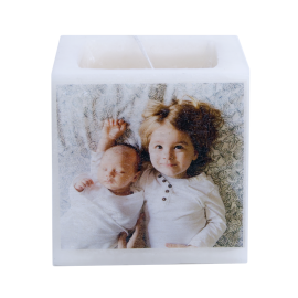 Scented and colored candle in the mass with customizable photo