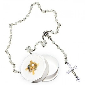 Real white rosary with mother-of-pearl pearls and boy's communicating box