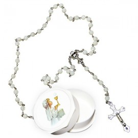 Real white rosary mother-of-pearl pearls with communicating box