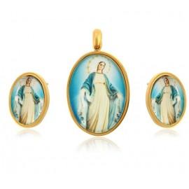 Set di pendenti e orecchini Miraculous Virgin - Placcato oro 24 kt.