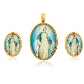Set of pendants and earrings Miraculous Virgin - 24 k gold plated