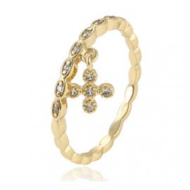 Ring ten cross crystals - 18 K gold plated