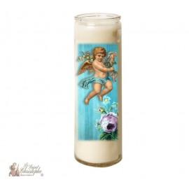 Candle 7 days in glass Vintage Angel - Blue Cherub