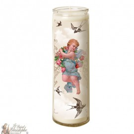 Candle 7 days in glass Vintage Angel - swallows