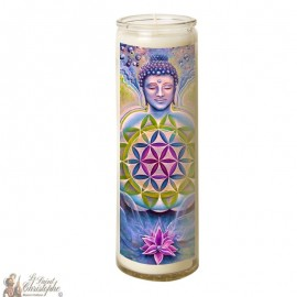 Zen Buddha glass candle 7 days - flower of life