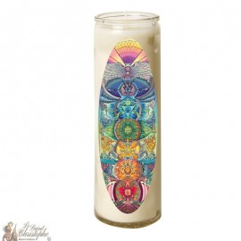 7 Day Candle in Glass Chakras - Oval