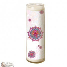 Candle 7 days in mandala glass - Pink