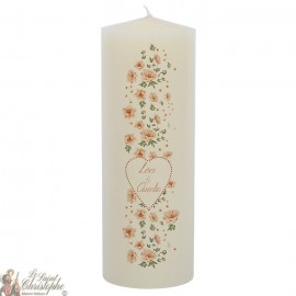 Customizable wedding candle - Flowers Heart