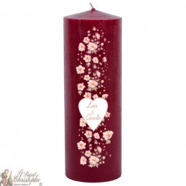 Customizable wedding candle - Flowers Heart