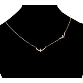 Double cross necklace - 18 K gold plated