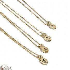 Collier pendentif lettre initiale plaqué or