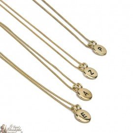 Necklace pendant initial letter gold plated