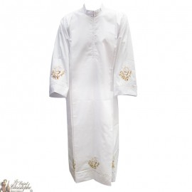 White alb with cross embroidered pleat - cotton
