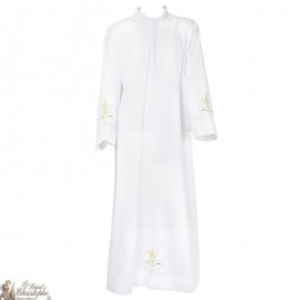 White alb embroidered with coloured wheat ear embroidery - cotton