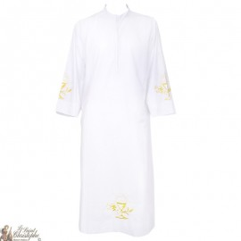 White alb embroidered chalice - cotton