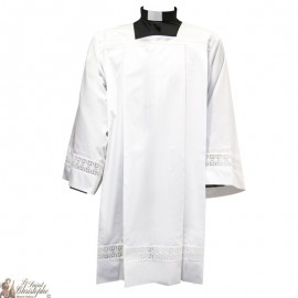 White embroidered surplice for ready or acolyte - cotton