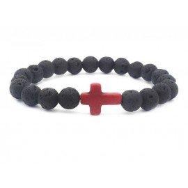 Lava stone bracelet with cross - natural energy