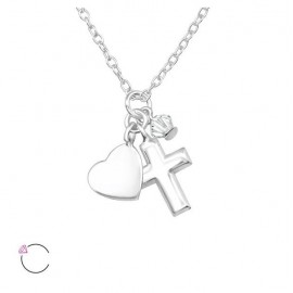 Cross and heart necklace with Swarovski crystal - silver 925